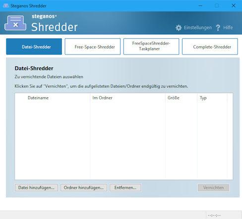 steganos shredder - Datenspuren auf Festplatten und USB Sticks sicher überschreiben