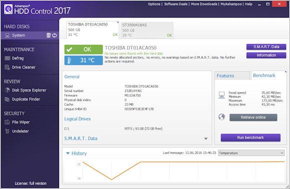 Kostenlose Basis Windows Tools - Ashampoo® HDD Control 2017