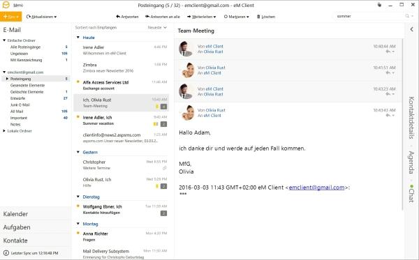 eM Client Posteingang