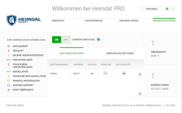 Heimdal Security bietet ein Software Management zum automatischen Aktualisieren sicherheitskritischer Software