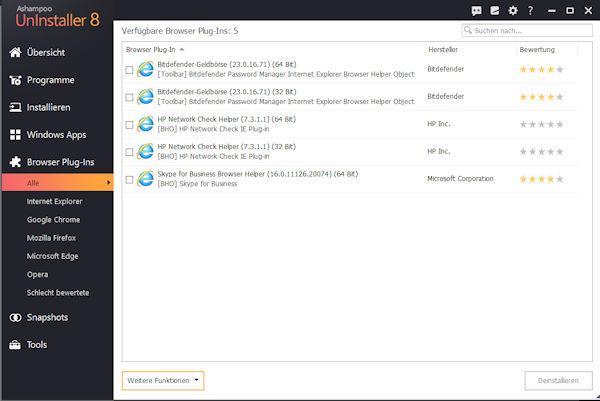 ashampoo uninstaller-8-installierte Browser Plugins